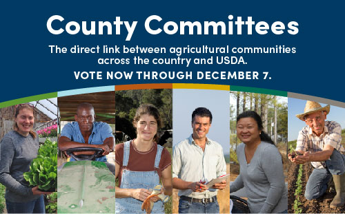 County Committees; The direct link between agriculture communities across the country and USDA; VOTE NOW THROUGH DECEMBER 7.