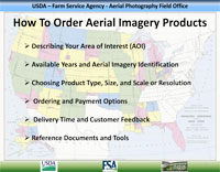 Having difficulty with knowing how to place an order or research request? USDA Aerial Imagery Ordering Instructions.