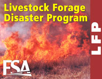 The Livestock Forage Program provides financial assistance to producers who suffered grazing losses due to drought or fire.